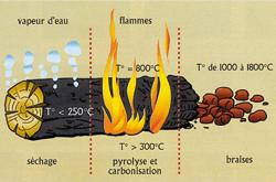 etapes combustion bois
