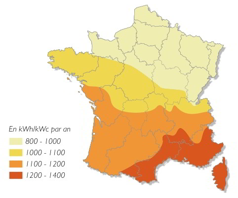 carte ensoleillement panneau solaire photovoltaique